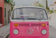 Camper vans / Pink plus other colours of retro VW's