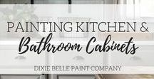 Painting Kitchen & Bathroom Cabinets | Dixie Belle Paint / Learn how to remodel your kitchen, bathroom or laundry room for very little money. Chalk painting cabinets is much easier than you think. Very little prep, and best part NO WAXING cabinets.  Why replace and spend thousands when you can spend  very little.  Our Blog explains how.  https://dixiebellepaint.com/blog/dixiebellepainthow-to-paint-kitchen-cabinets-with-dixie-belle-paint/