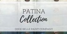 Patina Collection | Dixie Belle Paint / Patina paint incorporates real metal and naturally reacts as the patina spray is applied to create amazing finished results. Dixie Belle's Patina paint comes in Bronze, Copper and Iron. The spray comes in Blue and Green.