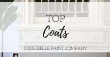 Top Coats | Dixie Belle Paint / Clear Coat Satin - Skilky, Clear Coat Gloss - Shimmery, Clear Coat Flat - Matte no shine. All Clear Coats are water-resistant! Gator Hide is a water-repellent top coat that protects your creations with natures armor!