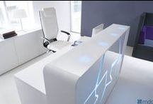 ARCTIC SUMMER reception desk / Opposites attract. Arctic summer - ice floes warmed up with the glow-tube lighting. Fancy design of this reception desk is intended for people with imagination, who appreciate elegance and dislike monotony. Designed for MDD Office Furniture by Frenchman of Lebanese-Armenian descent, Arctic Summer is a an essence of multicultural inspiration.