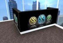 Reception desks with graphics / Your idea of a perfect work place. Your own place. What you like, feel comfortable with. What suit your taste. Graphics on reception desks let your office be more yours.