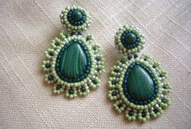 My work-My Beaded Earrings / Vintage Emerald and Crystal bead embroidery earrings
