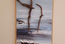 Driftwood art / Driftwood and sea glasses made by Giorgos