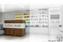 "HairSalon_Project / Interior And Exterior Design _Green Energy _PivotDoor Entrance_LinearBrightWhiteLighting_VerticalGarden_LEDBackLightingRetailArea_HighGlossWhitePaint ""BenjaminMoore""_LinearMirrorWithIndirectLighting."