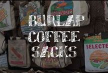 Moore: Burlap Coffee Sacks / Wake up to the vintage agricultural vibe and decorating versatility of these burlap coffee sacks. Embroidered, painted or upholstered -- effortless rustic chic style is in the bag. / by A.C. Moore Arts & Crafts