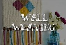 Moore: DIY Wall Weavings / Warm up your walls with yarn weaving!  Mix textures and colors on a simple DIY loom to create eclectic, boho and retro designs.