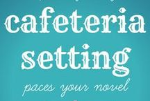 YA Cafeteria Setting / The cafeteria setting can help pace a YA novel when you are writing it.  Here at 6 ways: 1. The cafeteria setting opens a scene naturally.  2. The cafeteria signals the passage of time on a small, daily scale.  3. The cafeteria shows the passage of time on a large, seasonal scale.  4. The cafeteria is a transitional setting between bigger scenes.  5. The cafeteria is a place where the characters make plans for a bigger event  6. The cafeteria setting provides a natural end to scenes.