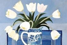 Jill Leman RWS RBA Greeting Cards / Jill's starting point for her paintings is colour, her subjects are mainly flowers and still life. Her inspiration comes from the garden, bits and bobs of china, scraps of fabric, and little objects collected or inherited over the years.