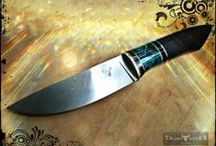 Damascus Turquoise knife / Zladinox damascus blade. Nickel silver, buffalo horn, turquoise acrylic and ebony wood handle.  www.tauroknives.com