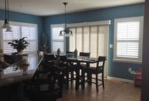 Panel Tracks - Austin Blind Faith /  - Available in over 200 colors  - Match your Solar Screen  - Cover up to 192″ span  - Replaceable Panels  - Striped Blinds & Accent Panel Options  - Wood & Fabric Valance Options