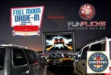 Full Moon Drive-In / Full Moon Drive-In is a new movie-going experience, the first of its kind in Round Rock!  It showcases classic films and new releases in digital format on a huge screen.  The drive-in has embraced the nostalgic drive-in ambiance, including food concessions, vintage advertisements, and entertainment among many elements from years long gone.  Our mission is to give the viewer a much larger experience than conventional movie theaters offer.