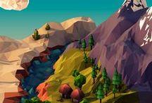 game assets / low poly beauties, 2D digital concept arts