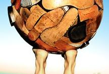 100 Worlds Project related / Some of The100WP globes and ideas that might lead to new directions. 100 Worlds Project is a sculpture exhibition by Ron Miriello that explores the globe form as a canvas. www.100worldproject.com