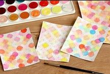 Technika: Vodové barvy. Cardmaking with watercolours. / Hand made cards by Czech Cardmaking club / Fler and other.