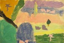 Παρέα με τους ζωγράφους - 21nipiagogeio.blogspot.gr / Soi Ie Witt: Αστέρια.  Νίκος Χατζηκυριάκος Γκίκας: Η γυναίκα και το πεύκο.  Mίνα Παπαθεοδώρου-Βαλυράκη: Χελιδόνια. Γιώργος Σταθόπουλος: Άνοιξη Καντίνσκι: Κύκλοι Πιτ Μοντριάν Ποπ- Αρτ