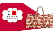 Signare ♥ Poppy / Signare Tapestry #poppy #bags, hand luggages.   This beautiful, delicate flower has come to be a symbol of remembrance for the armed forces, and with 2014 marking the centenary of the outbreak of the First World War, this design depicting a sea of untamed, blood red poppies is especially poignant.