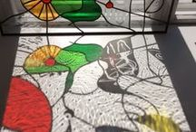 Stained glass by Tuire Hamalainen / Contemporary stained glass and sandblasted glass art. http://www.tuirehamalainen.com