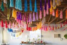 pompoms & tassels / pompoms | tassels | honeycomb decorations | pinatas | wedding inspiration | wedding decor