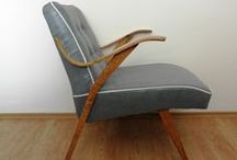Blue Jeans '60s / Blue-gray leatherette armchair with white stich. www.updatechair.com