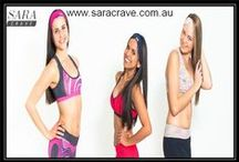 Women's fitness clothing  / Sara Crave, selections from latest product range including, crop tops, women's tights, full length gym tops, singlet tops, gym shorts and accessories