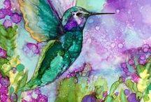AC - Tableau (peinture divers) / Aquarelle (watercolor), alcohol ink, huile, , acrylique, alcool
