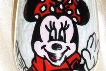 Disney Wine Glasses / Hand Painted Disney Glassware