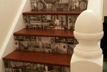 Wallpaper stairs / I stained and varnished my stairs then put my chosen wallpaper on before varnishing that too for added protection, I am very pleased with the result