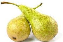 Pære   i alle afskygninger  dansk tekst / Pære   aflang, gul eller grøn kernefrugt fra pæretræet, smallest ved stilken og bredest forneden