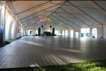 FLOORING & STAGING / We have flooring for any type of event. Beach Weddings, grass, and other surfaces can be transformed by the various options we have available for you.