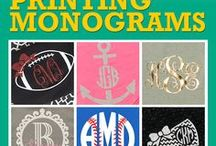 Monograms / Who says monograms have to be embroidered? Use a heat press with heat transfer materials (aka heat transfer vinyl & htv) , custom screen printed transfers, royalty free artwork,and more to create yours.