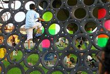 Playground - Pneus recyclés / Aires de jeux pour enfants, recyclage des pneus #tires #playground #kids #jeux #enfants
