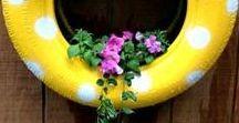 Recyclage de pneus - Jardin / Soyez Eco Participatif et recyclez vos pneus pour mettre de la couleur dans votre extérieur.  Donnez une 2nde vie à vos pneus en créant des jardinière Popy ou fondu pour votre jardin! Ici On partage ses idées et jolies trouvailles #Recyclage #pneus #jardin