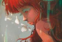 RED ART / #ginger  #red #art #girl #orange