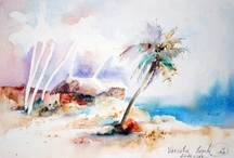 Watercolor sea landscape