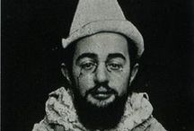 "Henri de Toulouse-Lautrec / Born on November 24, 1864, in Albi, France, Henri de Toulouse-Lautrec pursued painting as a youth and went on to create innovations in lithograph drawing. He became known for his posters, influenced by Japanese styles, and for imbuing marginalized populations with humanity in his art. Notable works include ""At the Moulin Rouge"" and ""The Streetwalker."" He died on September 9, 1901."
