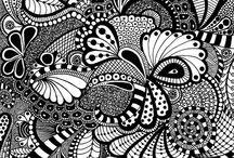 Black and white Zentangle   / Black and white