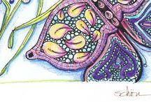 Butterfly zentangle doodle