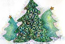 Cards Christmas zentangle Doodle