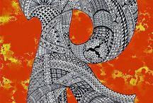 Zentangle pattern R.