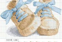 Cross stitch birth to babies / Výšivka k narození miminka