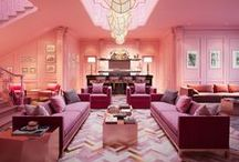 All Pink Everything / Spaces styled in pink. Pink houses, facades, restaurants, hotels, bars, bedrooms, bathrooms, staircases, lighting, lounges - everything!