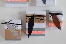 wrapping / wrap your gifts with beautiful paper, masking tape, strings and feathers...make it special on your own way