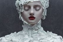 DRAMA: theatrical white / Life is like a theater stage, where dresses are draped and shaped around the body to emphatize with strenght the sophisticated drama of our existence