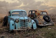 Old trucks and cars stalled in time / Trucks in fields, meadows and waysides