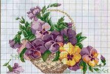 Cross stitch; Flowers