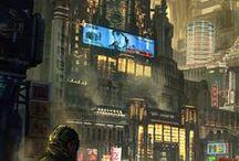 Futuristic fantasy / Sc-fi, fantasy, modern, futuristic, future, galaxy, city, soldiers