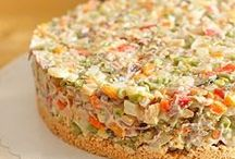 various salads and hummus