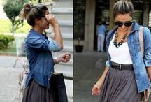 Fashion: Demin jacket & black or grey skirt / by Sally Morrison