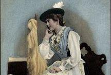 Central DE S: BY Berchtesgaden / Karakteristiek voor de 'Berchtesgadener Tracht' voor vrouwen is de ronde Berchtesgadener hoed met platliggend, vaak met gouden kwasten versierd koord.